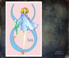 Taurus-fashion illustration Greeting card 5.5 by MedusasEmporium2