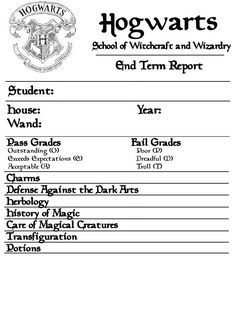 Hogwarts Report Card  Hp Fan Fiction Inspiration