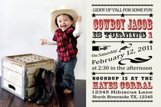 Cowboy Invitation - Giddy Up Western Birthday Theme