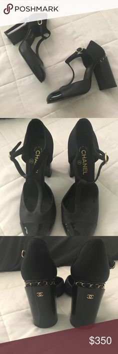 authentic CHANEL pumps mint condition. these babies are TO DIE FOR. goes from matte black to shiny black with amazing gold detailing. 100% authentic. no scuffs or creasing. sadly no box or dustbag ☹️have only been worn about once, very little wear on the bottom of shoes! these do run small in my opinion. they are a size 40 (size 10) but i would say they fit about a size 9 best. as i am a 9.5 and when trying on they were too small CHANEL Shoes Heels