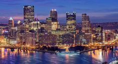 Downtown #Pittsburgh sure looked beautiful just before dawn today as it flowed against a bright blue sky