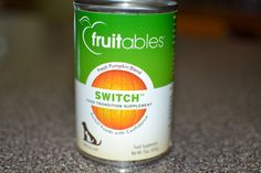 Fruitables Pumpkin Switch Can: Your dog has been eating the same old dog food for far too long. Why not switch it up? This transition supplement uses pumpkin to find the perfect balance of fiber to help build a buffer that eases the transition to a new protein. In a nutshell, Fruitables Pumpkin Switch reduces the chance of diarrhea or upset digestive problems. Plus dog's love pumpkin! $3.25 #twobostons #fruitables