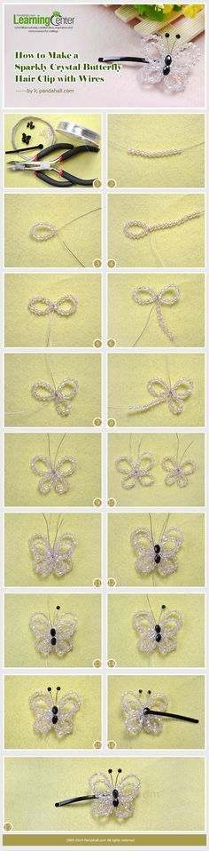 How to Make a Sparkly Pink Crystal Butterfly Hair Clip with Wires