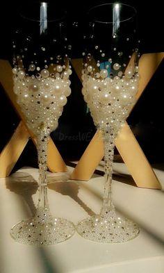 Luxurious Pearl Crystal Glass Toasting Flutes Set of 2 10864837 - Toasting Flutes - Dresswe.Com