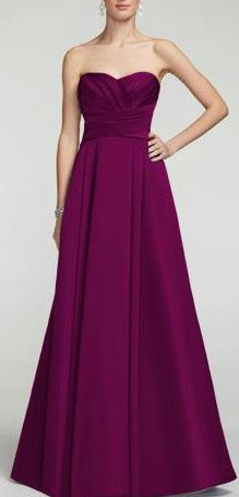 Elegant and timeless, this satin number will look fabulous on your bridesmaids! Style F15554. Shown here in Sangria. #davidsbridal #bridesmaids #purpleweddings