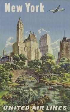 New York, United Air Lines, by Joseph Feher, circa 1947.