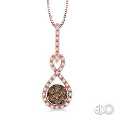 1/3 Ctw White and Champagne Brown Diamond Pendant in 14K Pink Gold with Chain