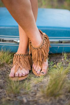 Let's Keep The Peace Suede Fringe Sandals (Tan)