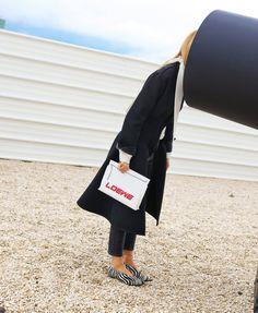 Céline coat and Loewe bag