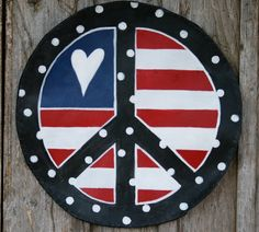 Summer.  Door Decor Red White and Blue Patriotic Peace Sign by doornament. Etsy.