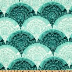 44'' Wide Tula Pink Prince Charming Snail Scallop Aqua Fabric By The Yard