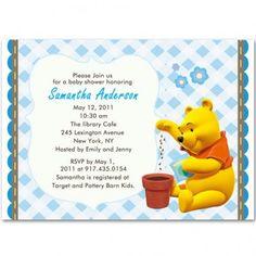 winnie the pooh baby boy shower invitations