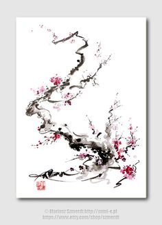Cherry Blossom hot pink birthday gift women flower by SamuraiArt, $35.00