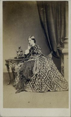 CDV Woman in A Richly Patterned Hooped Dress by Merrick of Brighton C 1860 | eBay