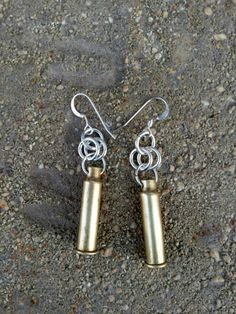 22 brass bullet casing earrings