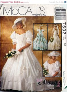 1995. McCall's 7502 Retro 1990s Alicyn Exclusives Designer Bridal Gown and Bridesmaid Dress Sewing Pattern