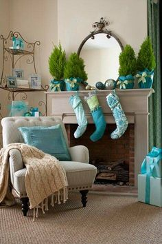 Christmas  coastal blue decor