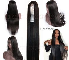 celebrity wow factor 30 inch Beautiful straight Virgin Human Hair Lace Front Wig With Free part spaceing inches 200 density Cheap Human Hair Wigs, Human Wigs, 100 Human Hair, Medium Brown Hair, Best Wigs, Long Black Hair, Wow Factor, Off Black, Hairline