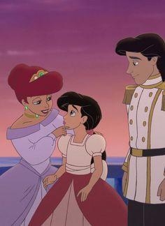 Melody Photo: Melody with her parents Aladdin Princess, Disney Princess Ariel, Mermaid Princess, Flame Princess, Princess Aurora, Melody Little Mermaid, Little Mermaid Movies, Disney Films, Disney Cartoons