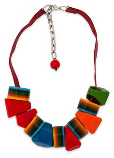 Necklace w/ Multicolor Geometric Beads | Designer Exclusive | One Kings Lane