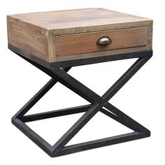 X Industrial Bedside Table - Fir Wood Industrial Table, Home Bedroom, Steel Frame, Bedside, Console Table, Fun Stuff, Recycling, Range, Rustic