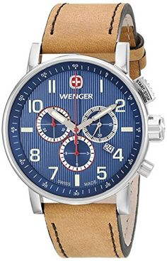 Men's Wrist Watches - Wenger Mens 011243101 Commando Stainless Steel Watch with Brown Leather Band ** Check this awesome product by going to the link at the image.