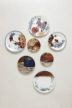 Anthropologie - Flowers in Blue Jug Plate Collage {simply gorgeous inspiration! Plate Collage, Plate Art, Plate Wall Decor, Plates On Wall, Molly Hatch, Live In Style, Dining Room Walls, Plate Design, Hanging Art