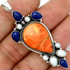 Natural-Italian-Coral-925-Sterling-Silver-Pendant-Jewelry-SP120883