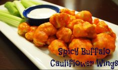 Spicy Buffalo Cauliflower Wings #recipe #vegan #yum  I sprinkled mine with lemon juice and lemon pepper.  I also used broccoli when I ran out of cauliflower.