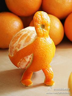 I might eat one if a little man like this brought an orange to me each day