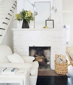 In base housing, everything is white. Would love to do this, now just need to get something in place of the fireplace we don't have :)