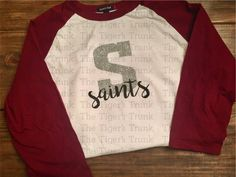 These shirts are perfect for a Friday night football game! Show your school spirit by sporting your letter and mascot. Lots of colors and styles available! These are made with HEAT PRESSED vinyl--great quality!  **Important information for ordering!! 1. Select your Style. Make your selection for short-sleeved or long-sleeved shirt (solid color), regular or supreme colored raglan (baseball style with solid center and colored sleeves).  2. Select your size. Please note that sizes NB-3 months…