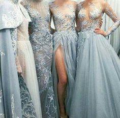 Dress: blue, dusty blue, maxi, prom, blue dress, blue prom dress ...
