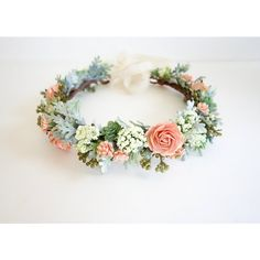 Flower Crown, Peach Flower Crown, Boho Headdress, Bridal Crown, Peach... ($88) ❤ liked on Polyvore featuring accessories, hair accessories, bridal crown, bridal floral crown, floral crown, flower crown and crown hair accessories
