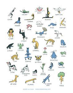 Everybody Yoga! art print (Yoga poses) in 2020 Yoga Poses Names, Yoga Poses For Back, Kids Yoga Poses, Yoga For Kids, Yoga Kundalini, Pranayama, Yin Yoga, Namaste Yoga, Yoga Meditation