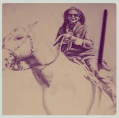 """""""The Lady and horse"""" Portrait in graphite on paper. 35cm. x 50cm."""