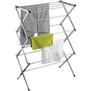 Some campgrounds do not allow clothes lines, plus sometimes they can spoil your view. i picked this up for wet towels, and i can keep it under the awning or under one of the beds outside. it collapses down for easy storage in the pop-up camper. Honey-Can-Do Commercial Chrome Accordion Drying Rack, 24' from Wal-Mart in store for $19.97