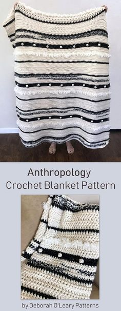 Anthropology Crochet Blanket Pattern- Easy Pattern by Deborah O'Leary Patterns #crochet #blanket #pattern #easy