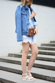 More on www.offwhiteswan.com Floral Denim Jacket by Asos, Linen Shirt by H&M, Embroidered Shorts by H&M, Vintage Bag by Aigner, Lace Up Sandals by Forever21 #offwhiteswan #swantjesoemmer