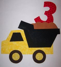 Fabric Applique TEMPLATE ONLY Birthday Dump Truck. $1.50, via Etsy.