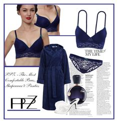 """""""Push-up Demi Lace Bra Crop Bustier Rhinestone Dark Blue"""" by teez-biz-nez ❤ liked on Polyvore featuring John Lewis and Lacoste"""