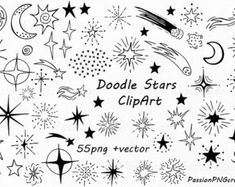 Doodle star clipart set includes: PNG files with transparent background (about wide) -EPS, AI (vector) files Each file is in high quality resolution. Suitable for most computer programs This is a digital product. File is called INSTANT - Bow Clipart, Star Clipart, Vector Clipart, Star Doodle, Doodle Art, Doodle Frames, Travel Clipart, Muster Tattoos, Photoshop Overlays