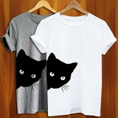cee5eb4b09 Cat Looking Outside Print Women Tshirt Cotton Casual Funny T Shirt for Lady Girl  Top