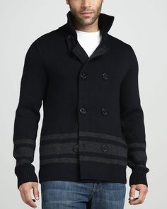 Vince Striped Wool Pea Coat Sweater in Black for Men | Lyst