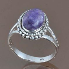 Charoite 925 STERLING SILVER NEW DESIGNER RING 4.49g DJR9078 SIZE-9 #Handmade #Ring