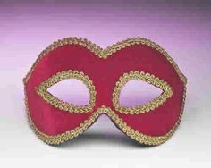 A simply but effective Halloween costume accessory, this Red Venetian Eye Mask fits great with festive, Venetian, Renaissance and other mysterious costumes! This costume accessory is red colored with a gold colored trim.