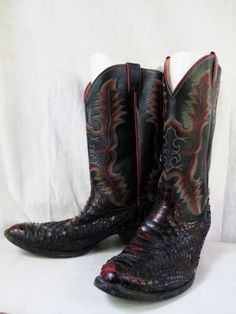 Mens JUSTIN Western Cowboy PYTHON SNAKESKIN Leather BOOTS Shoes RED BLACK 12 E