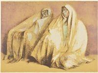 Dos Mujeres con rebozos, sentadas por Francisco Zúñiga