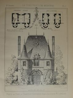 Antique French Architectural Print 1896.: