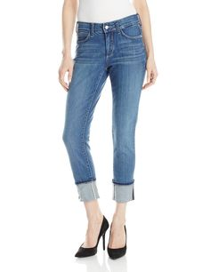 NYDJ Women's Lorena Skinny Boyfriend Jeans, Heyburn, 12. Cuff with five-pocket styling, zip fly and button closure. Lift tuck technology.